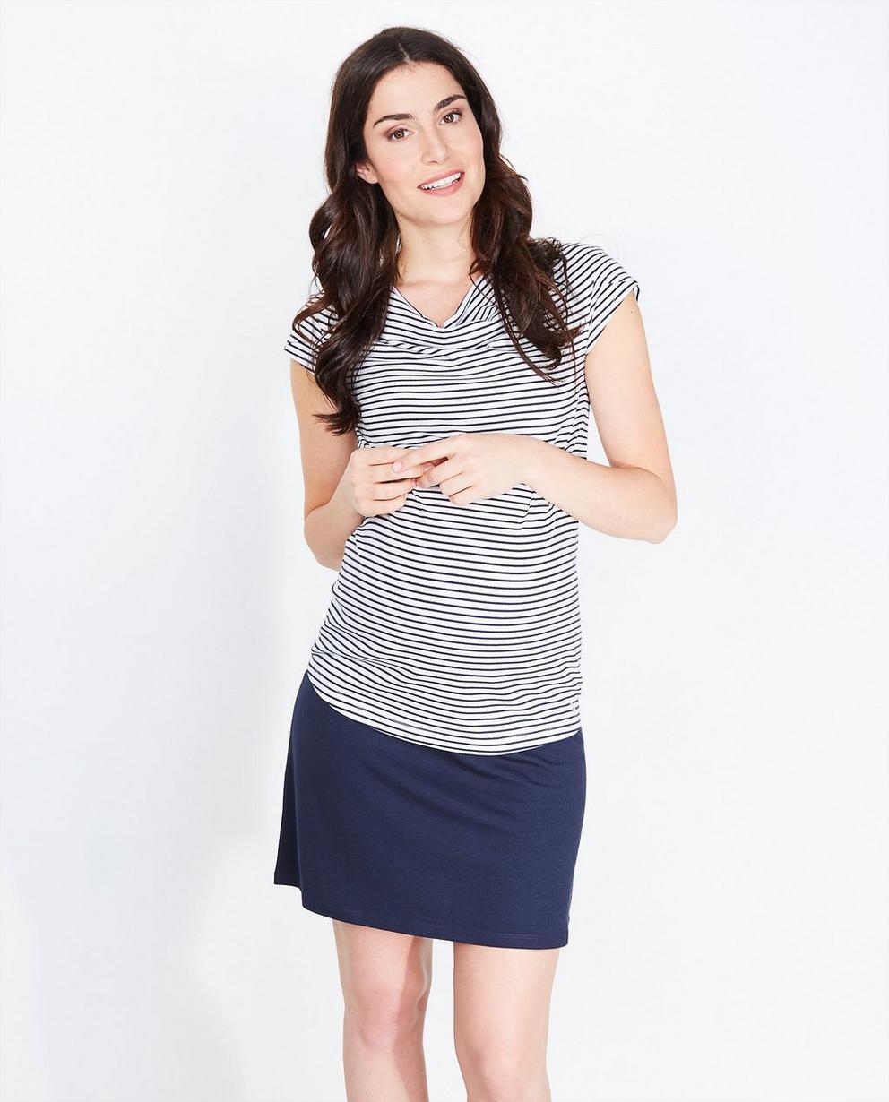 T-shirt à paillettes - rayé, bleu foncé et blanc - Joli Ronde